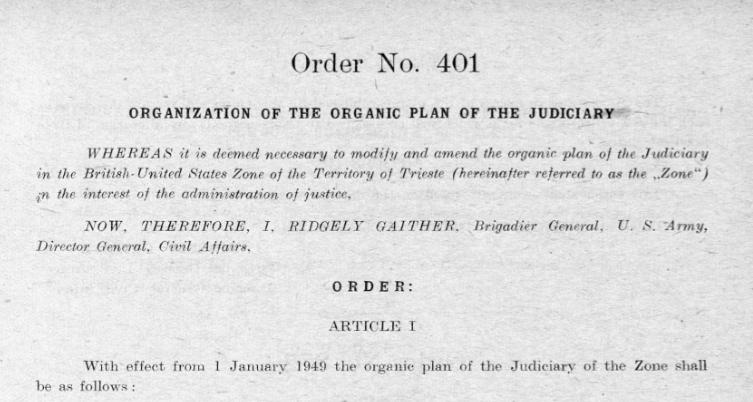 ORGANIC PLAN TRIESTE JUDICIARY