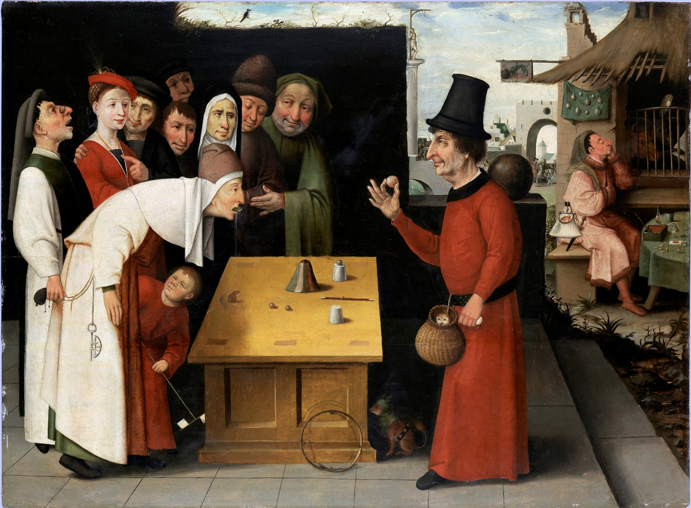 School of Hieronymus Bosch, Holland, 1474?Äì1516The Conjurer, after 1500Oil on panelBequest of Oliver O. and Marianne Ostier, New York, to the America-Israel Cultural FoundationB77.0069