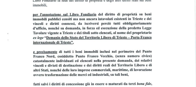 Trieste:  the speculation attempt of the PD against the international Free Port is stopped – press conference Tuesday 21st