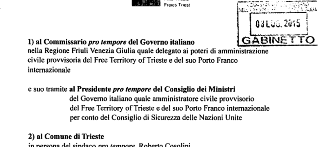 International Free Port of Trieste: a formal notice to the heads of the PD