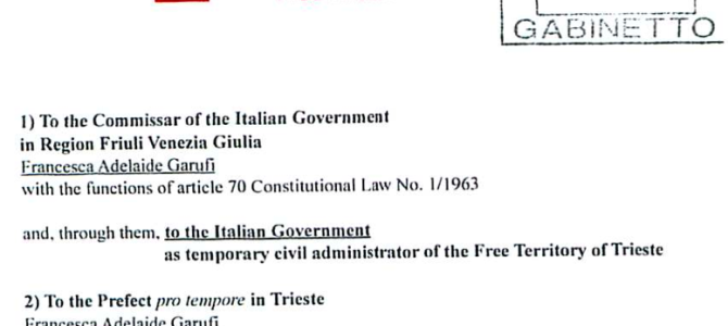 Free Trieste requests the suspension of Italian taxation to the E.Z.I.T.