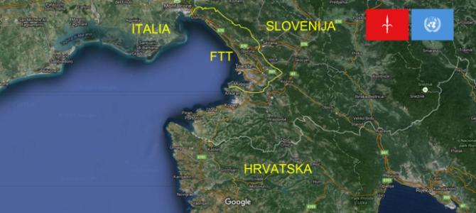 Bewegung Freies Triest markiert die Staatsgrenze zwischen Freien Territorium Triest und Italien